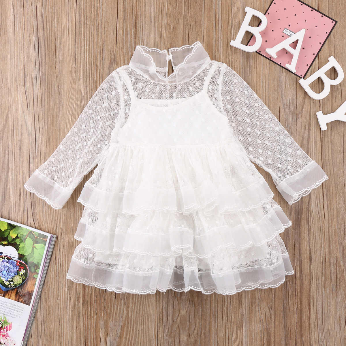 d6688251b6 Cute Kids Baby Girl Princess White Dresses Long Sleeve Party Dot ...