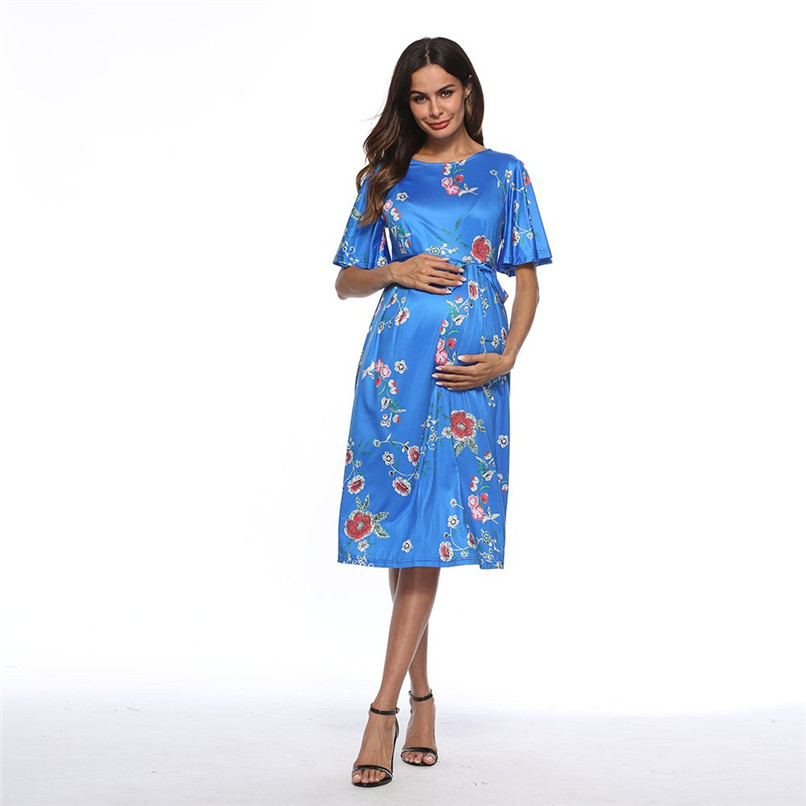 fbc32439a58a ... Summer Maternity Clothes Fashion Women Pregnants Maternity Short Sleeve  Floral Printed Dress Pregnancy Casual Dress M ...