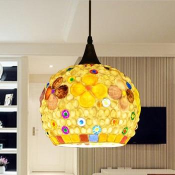 Mediterranean Bohemia LED three chandelier bedroom creative study restaurant single head shell pendant