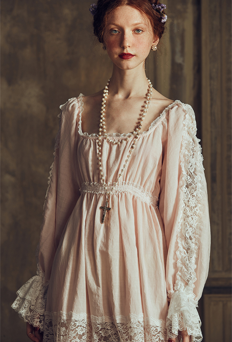 Sexy Long Dress Cotton Linen Nightgown Wedding Dressing Gown Ankle-length Sleepwear Ladies Nightgown Queen Palace Dress