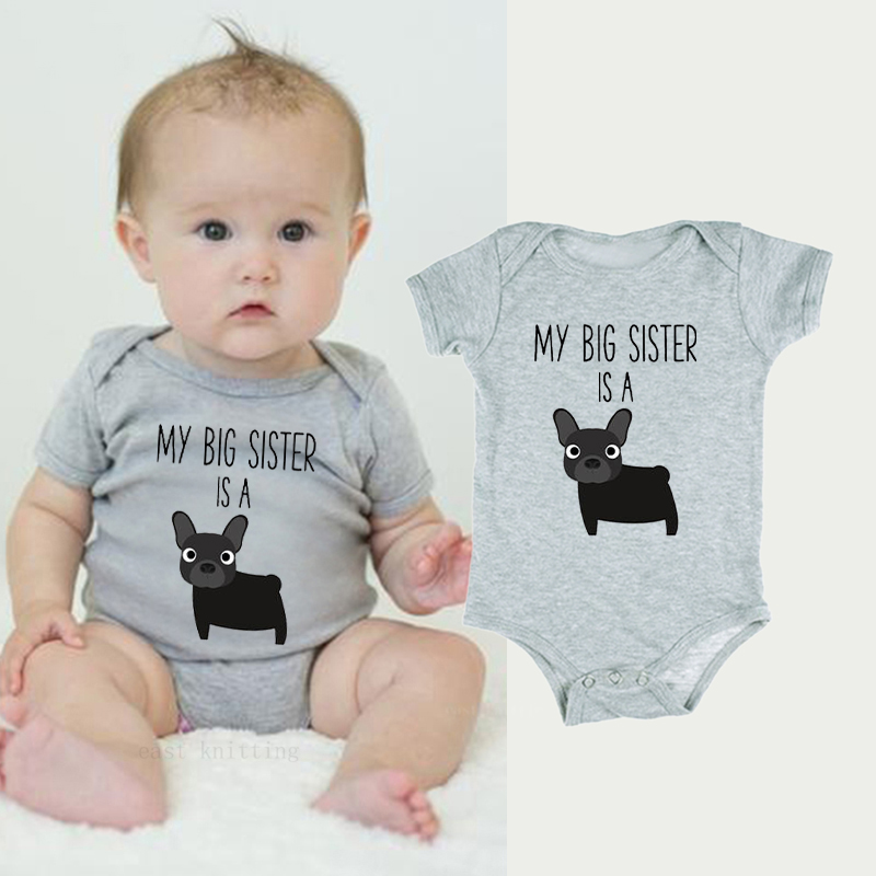 DERMSPE 2019 New Newborn Baby Rompers Lovely Boys Girls Short Sleeve My Big Sister Is A Dog Baby Jumpsuits Infant Gray