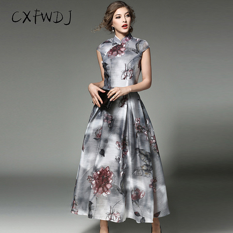Dress Women 2018 Summer New Cheongsam Natural Printing Standing Collar Big Swing European Root Yarn Women