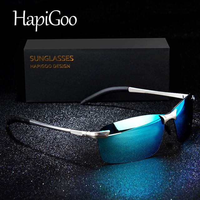 69c8f035f49 HAPIGOO Brand Designer Alloy Half Frame Sunglasses Men Polarized UV400  Night Vision Glasses Driving Travel Golf Sunglasses Women