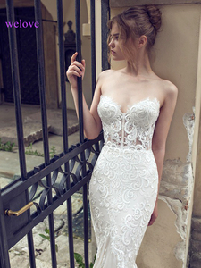 Image 4 - White Backless Lace Mermaid Wedding Dresses 2020  New Sexy Fishtail Wedding Gown Bride Dress Vestido De Noiva Robe De Mariage