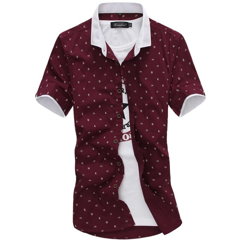 New Summer Mens Crown Anchor Print Short Sleeve Shirt New Fashion Casual Dress Shirt Men's Shirt Chemise Homme 95% Cotton M-XXXL