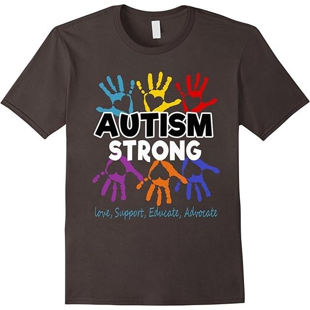 d16e2c3eebc Funny Men t shirt white t-shirt tshirts Black tee Autism Awareness Men T  Shirt For Mom   Dad  Kid - Autism Strong