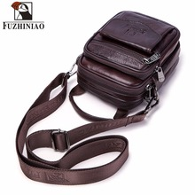 FUZHINIAO ขนาดเล็กหนังผู้ชายหนังแท้กระเป๋าสะพายกระเป๋าถือกระเป๋าถือ Messenger ชายกระเป๋า Crossbody Tote ขนาดเล็กซิป