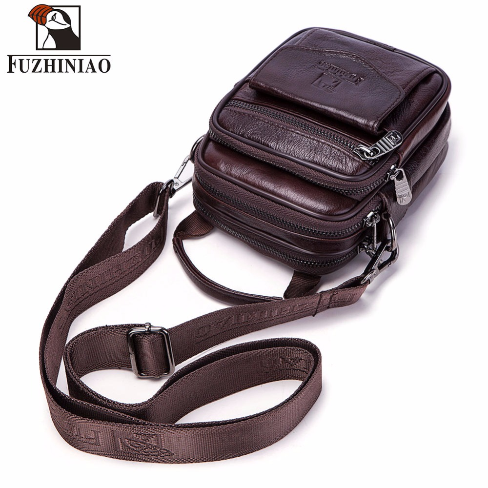 FUZHINIAO Small Genuine Cowhide Leather Men's Shoulder Bag Clutch Handbag Messenger Male Bags Crossbody Sling Tote Small Zipper