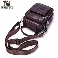 FUZHINIAO Small Genuine Cowhide Leather Men's Shoulder Bag Clutch Handbag Messenger Male Bags Crossbody Sling Tote Small Zipper