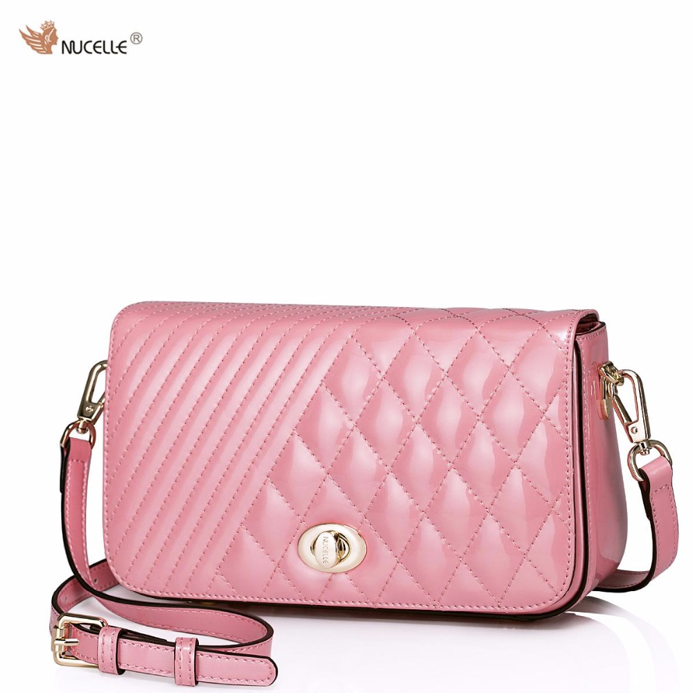 цены  NUCELLE New Brand Design Fashion Diamond Lattice Cow Patent Leather Women Lady Handbag Shoulder Crossbody Flap Bags
