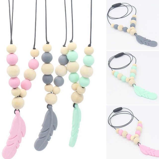 Пищевое Силиконовое ожерелье для прорезывания зубов, детские игрушки для прорезывания зубов, силиконовые бусины, детское ожерелье для прорезывания зубов, жевательные игрушки, подарки для малышей