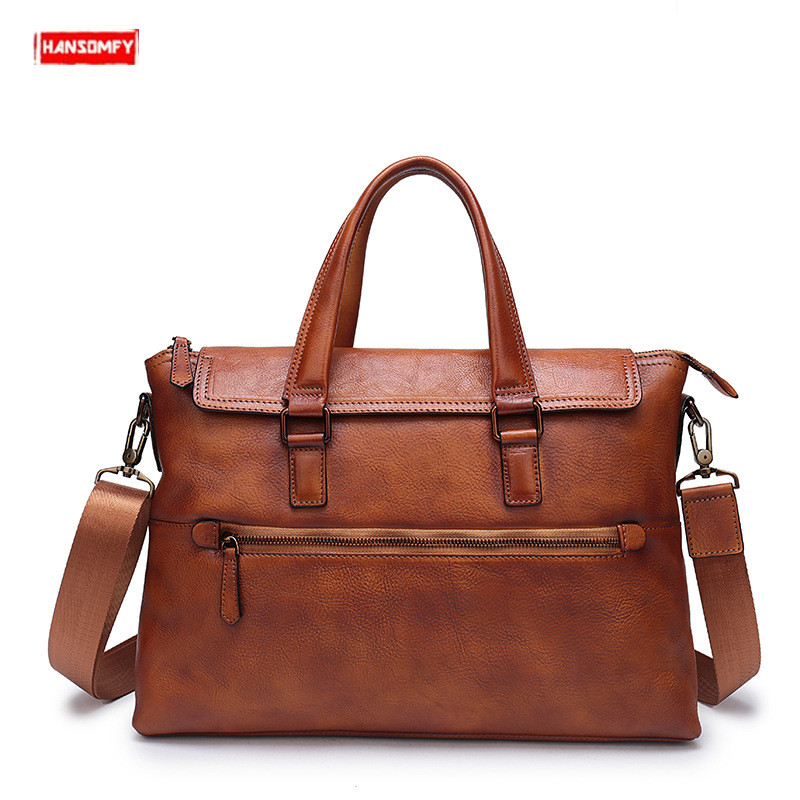 New First Layer Cowhide Men Briefcases Large Capacity 14