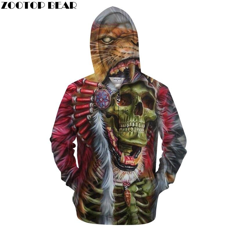 Skull 3D Zip Hoodies Men Zipper Hoody Print Tracksuit Funny Sweatshirt Male Coat LongSleeve Vintage Pullover DropShip ZOOTOPBEAR