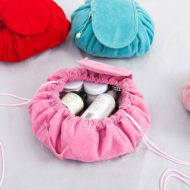 Round New Plush Makeup Case Magic Drawstring Cosmetic Bag Female Travel Make Up Bag Organizer Storage Pouch Toiletry Wash Kit 2