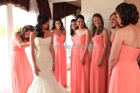 2017 Special Price!Custom A-line Sweetheart Floor Length Chiffon Coral Long   Bridesmaid     Dress   Pleat New   Bridesmaid   Gowns
