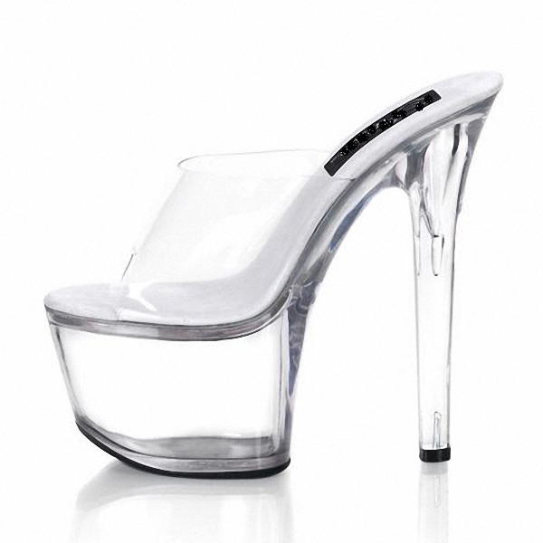 New High Heels pole dancing sexy Shoes Transparent Slip-On Dance high heel shoes 17cm Platform Pointed Stiletto party shoes sexy women semi transparent lace high heels new 2017 ladies sequin shoes slip on thin heel pumps free shipping