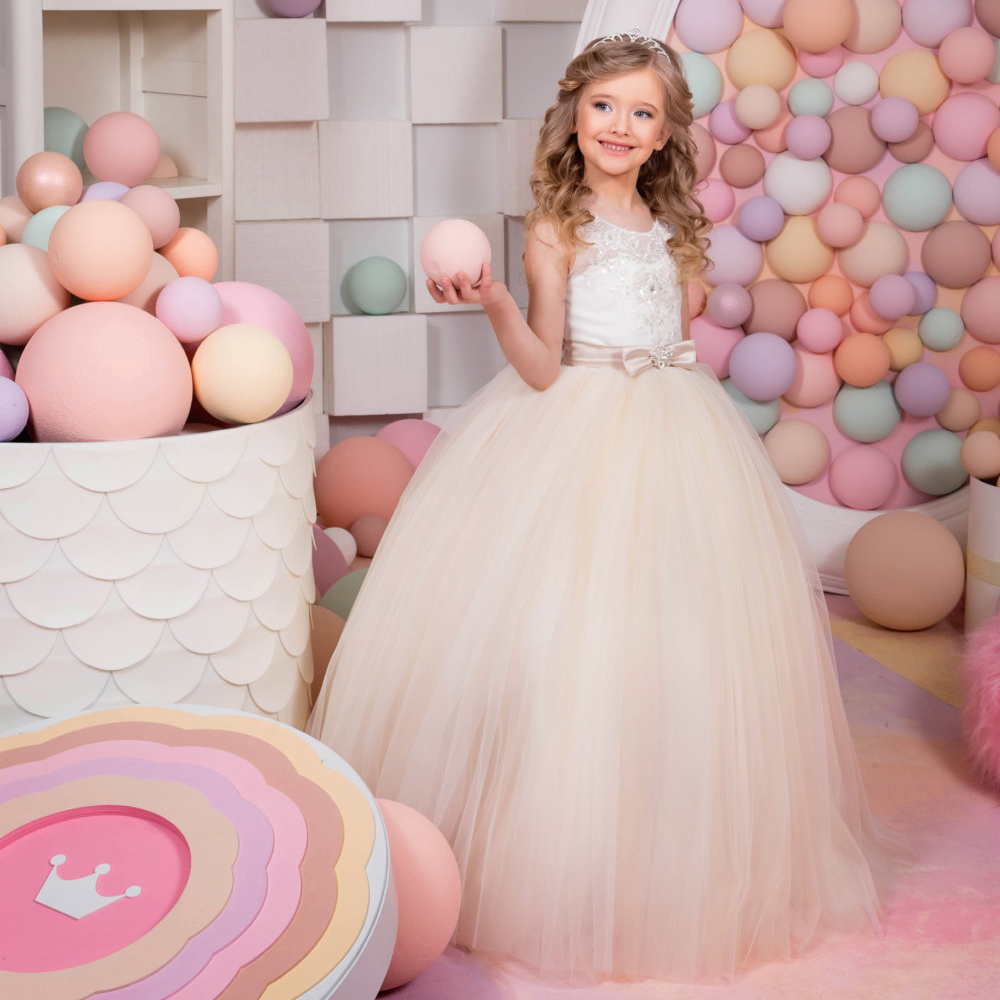 Flower Girl Dresses Appliques O-neck Ball Gown Patchwork New Arrival Hot Sale Lace Up Bow Sash First Communion Dresses for Girls 4pcs new for ball uff bes m18mg noc80b s04g
