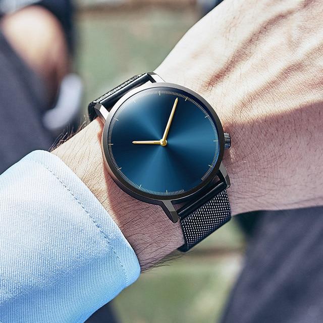 Hombre de negocios hombre reloj 2019 clásico de moda de cuarzo de oro de acero inoxidable reloj de pulsera Relojes hombres reloj relogio masculino regalo