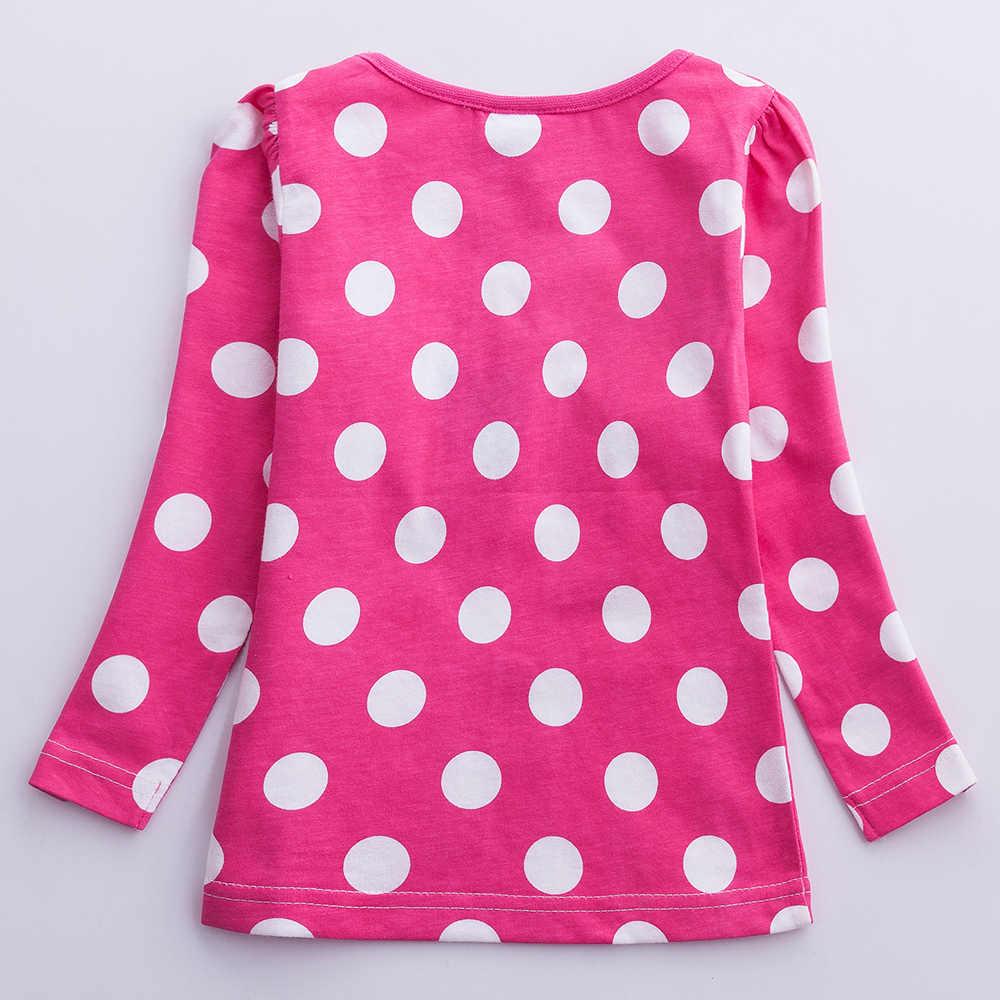 JUXINSU Kızlar pamuklu uzun kollutişört Dalga Noktası T-shirt Nakış Sonbahar Kış Rahat Tarzı t shirt Bebek Kız Elbise 1-6 Yıl