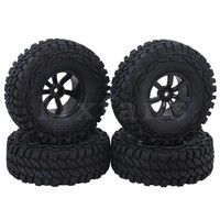 Mxfans 1 9 Inch Black Plastic 7 Spoke Wheel Rims 115mm OD Rubber Tires For RC1