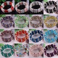 Free Shipping 7x10MM Multi-color Crystal Round Faceted Beads Stretch Bracelet 1Pcs H604-620