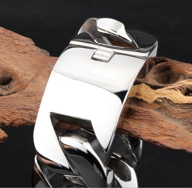 TrustyLan 31MM Super Wide Shiny Bracelet Men Cool Punk Stainless Steel Jewelry Fashion New Men's Bracelets & Bangles Hand Chain