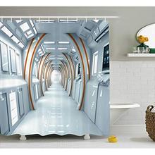 Cortina de ducha de fantasía Vixm, pasillo futurista de la nave espacial, arquitectura Digital, estilo de ciencia ficción, vistas interiores, cortinas de baño de tela