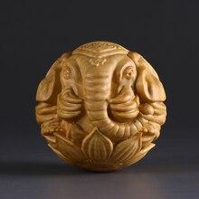 Handmade Carved Poplar Wood Elephant Gift Decorative Arts
