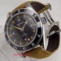 41 мм черный циферблат сапфировое стекло Дата Окно кожаный ремешок miyota 8215 автоматические мужские часы