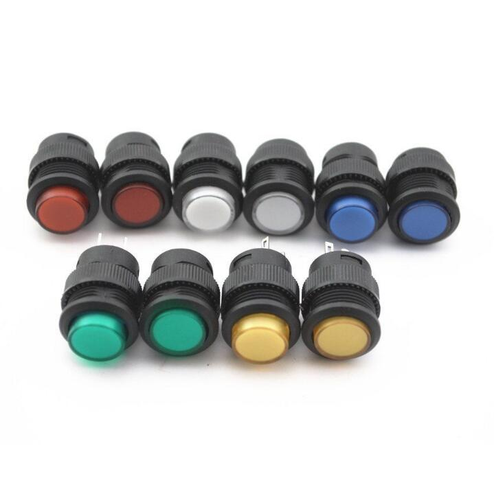 2X self-lockin 16MM Latching push button switch with 5Color LED lighting 4Pin 1 x 16mm od led ring illuminated latching push button switch 2no 2nc