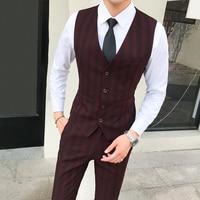 2018 New Arrival Men Vest Stripe Waistcoat Male England Style Classic Striped Suit Vest Man Dress Slim Fit Wedding gilet homme