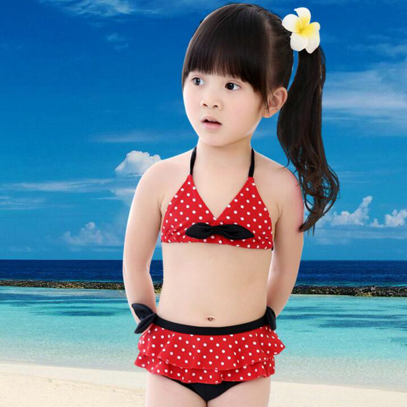 b5a16cc517530 USEEMALL Baby Girl Bikinis Minnie Swimwear Polka Dot Bathing Suit for Kids  Children Girl Swimming Suit Summer Beachwear 2-7 Year
