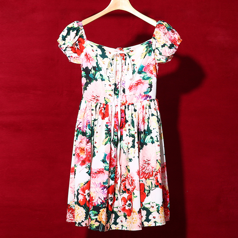 Red RoosaRosee 2019 Summer Elegant Floral Print Bandage Mini Dress Women s Fashion Puff Sleeve Sexy