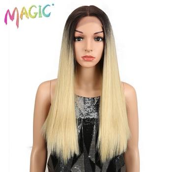 Magia recta pelucas delanteras del cordón para las mujeres negro medio  parte pelo resistente al calor negro recto Rubio sintético frente de encaje  pelucas 3a2114c9bd0a