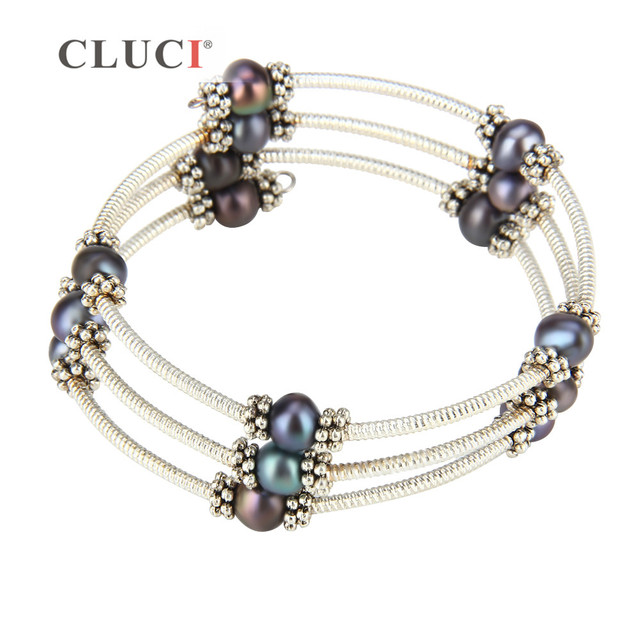 Cluci Hand Jewelry Adjule Silver Plated Wire Wrap Bracelet With Purple Color Pearls Multilayer Bracelets