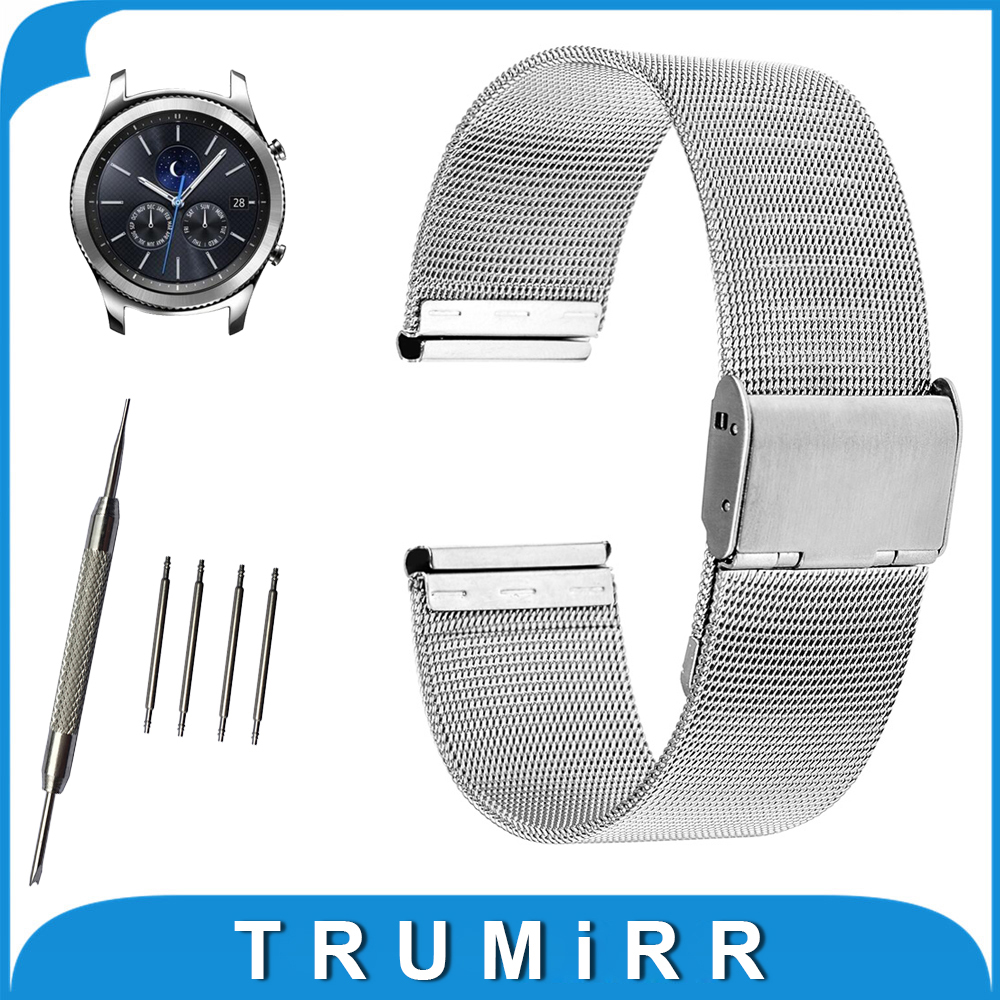 22mm Milanese Watch Band for Samsung Gear S3  Classic / Frontier Stainless Steel Strap Belt Wrist Bracelet Black Gold Silver iw 8758g 3 men s and women s quartz watch fabric classic canterbury stainless steel watch with multi color striped band