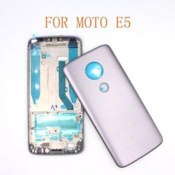 E5 Tapa con marco medio para Motorola Moto E5 cubierta trasera de la batería de la cubierta trasera de la cubierta de la carcasa trasera de la batería con el Marco