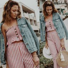 Summer Women Ladies Striped Strapless Crop Tops + Wide Leg Casual  Long Trousers