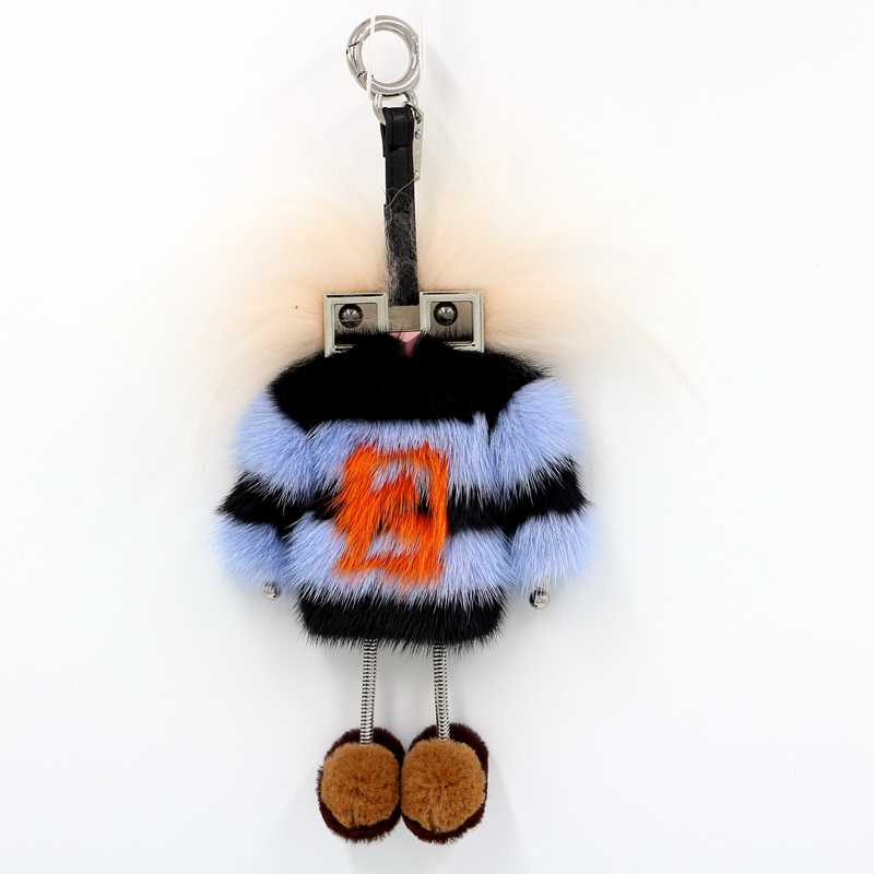Women metal robot monster real fur charm key chain striped mink coat luxury charm bag pendant plus contrast striped coat
