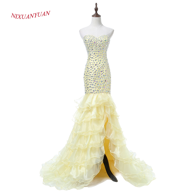 NIXUANYUAN New Custom Made Yellow Organza Mermaid   Prom     Dress   2017 Luxury Crystal Party   Dress   Sexy Side Split vestidos de baile