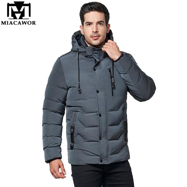 Best Offers MIACAWOR New 2018 Winter Men Parka Fleece Thick Warm Coats Man Hooded Windproof Winter Jacket Men Outwear 4XL 5XL J572