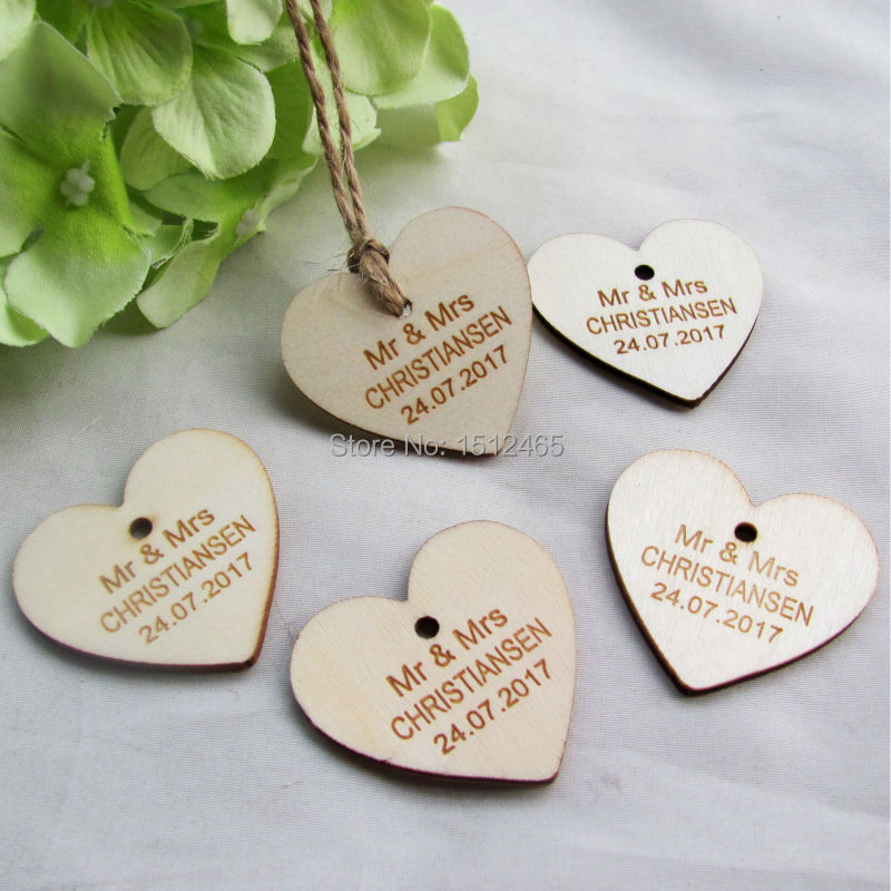 100 pcs personalized custom engraved wedding name and date love heart wooden wedding gift tagsjute string 40mm37mm