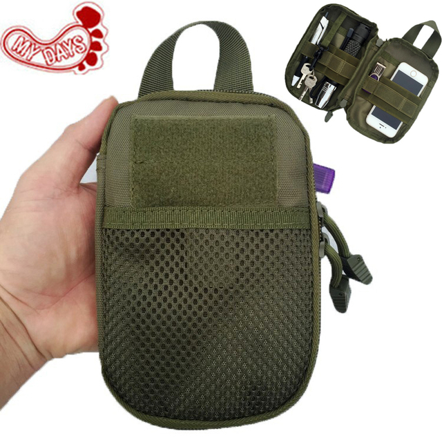 US $10 33 6% OFF|MY DAYS Medical Military First Aid Kit Phone Case Bag  Molle Pouch Tactical EDC Sling Waist Packs Outdoor Equipment Accessories-in