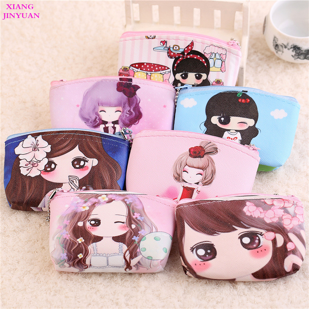 2018 New Cartoon Cute Girl Zero Wallet Women Fashion Canvas Cosmetic Bag Coin Pouch Purse Hot-selling Zipper Kids Character Bag mara s dream new arrival small dot zero printed girl s coin purses wallet bag pouch brand lady mini wallet with metal buckle