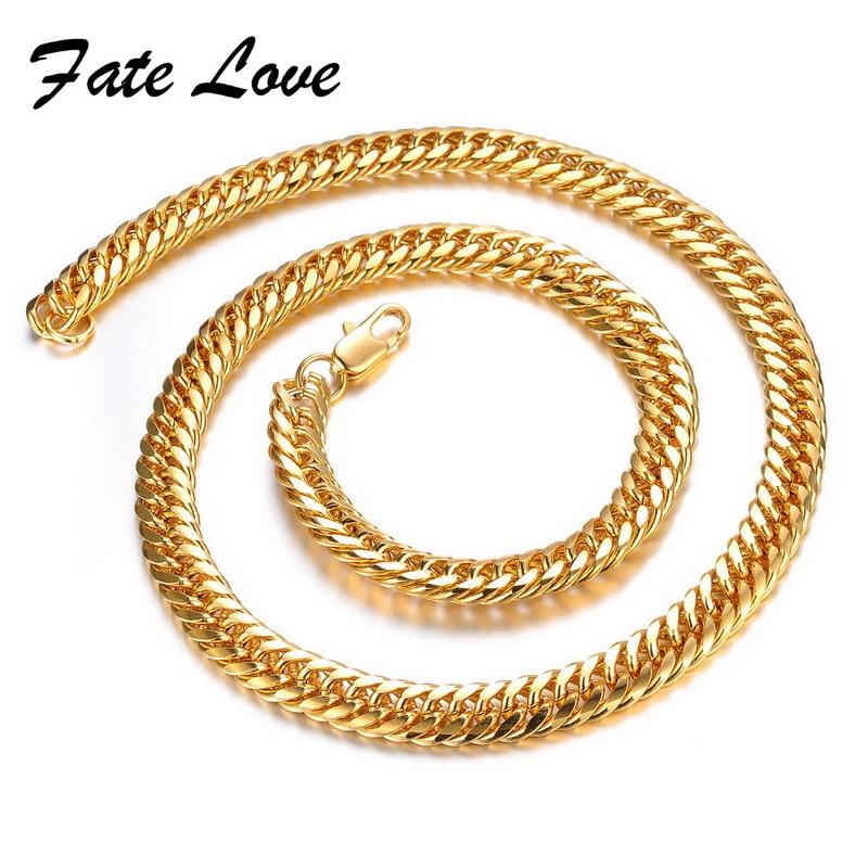 29679ac4d8b4 Fate Love clásico oro color collar nunca se desvanecen con el tiempo se  personalidad 50 cm longitud cadena regalos para hombres joyería FL627