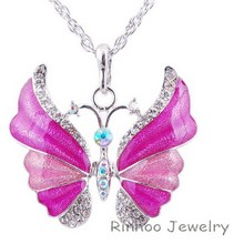 Mixed Enamel Tibetan Style Alloy Enamel Butterfly Pendant Necklaces Antique Silver plated Vintage Necklace For Women Jewelry