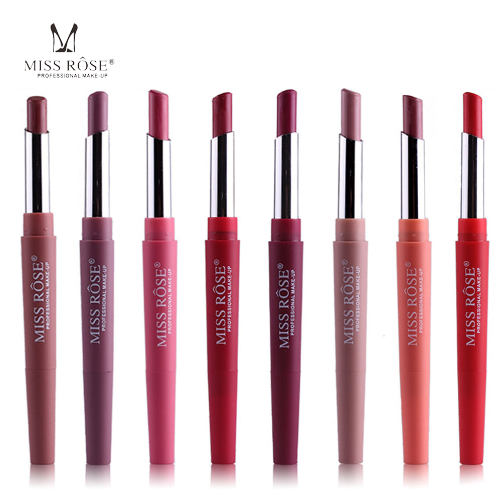 MISS ROSE Makeup Lipstick Pretty Color Double Head Lip Liner Lipstick Lip Pint Cream Waterproof Easy To Wear