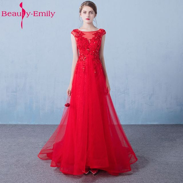 Beauty Emily Long Lace Red Bridesmaid Dresses 2017 Party Dresses A ...