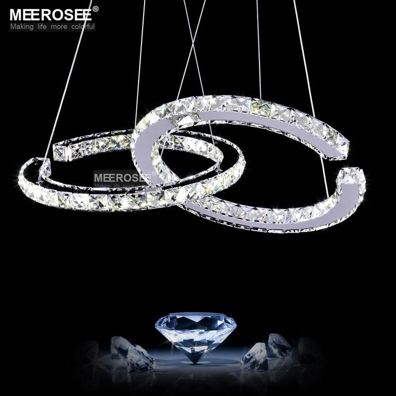 MEEROSEE Crystal Lighting Modern LED Diamond Pendant Light Fitting LED Crystal Fixture Lustres Hanging Drop abajur Innrech Market.com