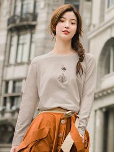 INMAN Female Tee Shirt Printing Long Sleeve Women T-shirt